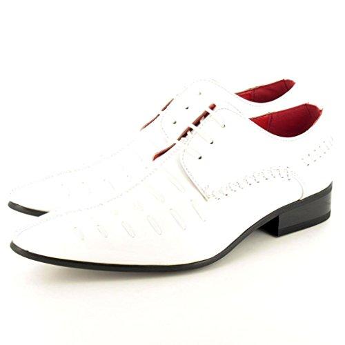 Men, Leder, offizielle spitz Winkle Picker Lace Up Schuhe Weiß