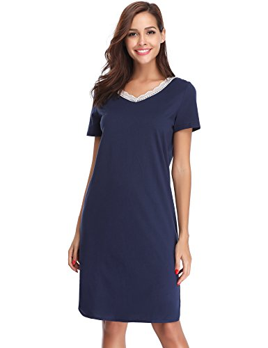 Hawiton Women's Lace V Neck Nightdress Loose Fit Sleep Shirt Short Sleeve Sleepwear Navy Blue