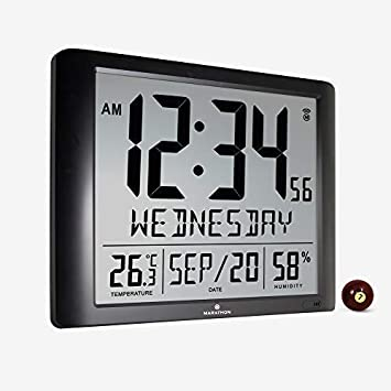Marathon CL030061-FD-BK Super Jumbo Atomic Full Calendar Wall Clock with 7 Time Zones, Indoor Temperature and Humidity. Large 20 Inch Display with 6.5 Inch Numbers. Batteries Included Black