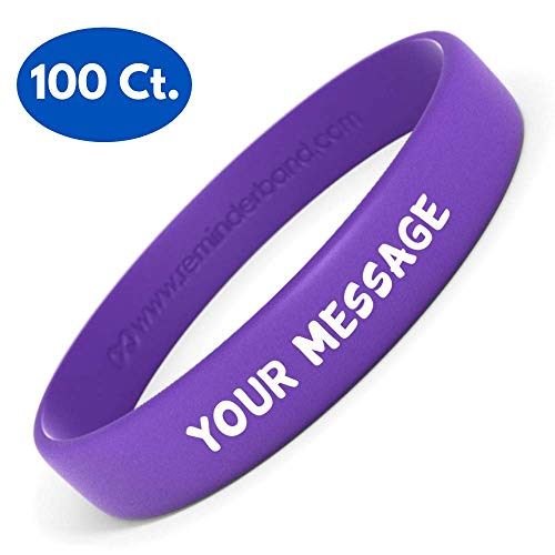 Purple Plastic Band - Reminderband Silicone Wristbands - 100 Pack - Personalized Silicone Rubber Bracelets - Customized, Events, Gifts, Support, Causes, Fundraisers, Awareness - Men, Women, Kids