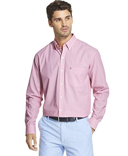 IZOD Men's Big and Tall Button Down Long Sleeve Stretch Performance Solid Shirt, Rose Bud, 5X-Large