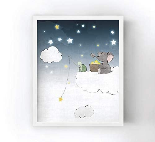 - Elephant and Turtle Art Nursery Print - Fishing for Stars