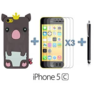 OnlineBestDigital - Piggy Style Silicone Case for Apple iPhone 5C - Brown with 3 Screen Protectors and Stylus
