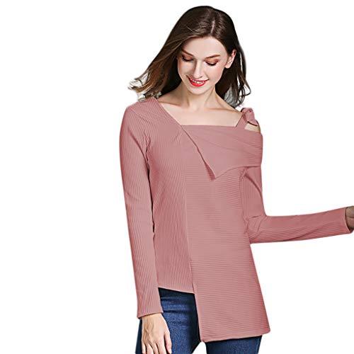 Lookatool LLC Womens Fashion Bow Sling Solid Color Long Sleeve Blouse Shirt