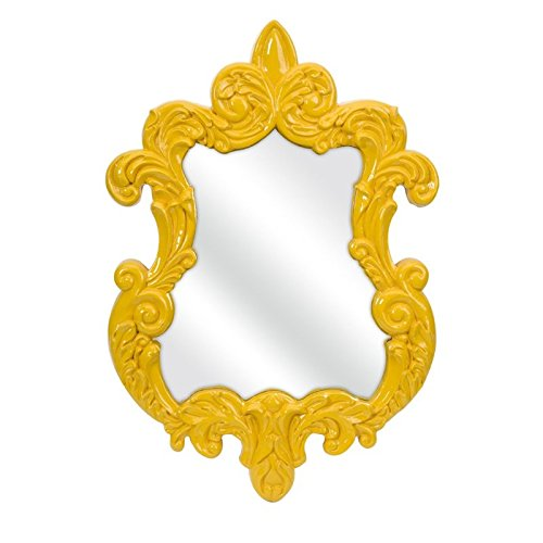IMAX 47381 Finely Baroque Wall Mirror, Yellow