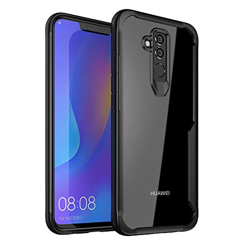 Huawei Mate 20 Lite Case, Ultra Hybrid Heavy Duty Transparent Clear Phone Case for Huawei Mate 20 Lite, Shockproof Protective Phone Cases with Air Cushion Protection Technology (Black)