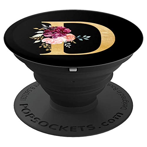 Monogram Initial Letter D Customized Floral Name on Black - PopSockets Grip and Stand for Phones and Tablets