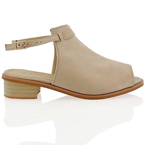 ESSEX GLAM Gamuza Sintética Sandalias de punta abierta y antelina con tira al tobillo y tacón bajo cuadrado Desnudo Gamuza Sintética