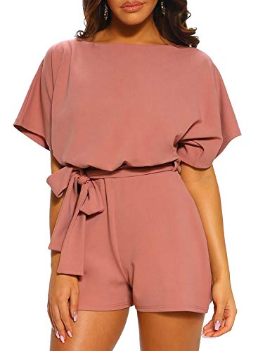CANIKAT Womens Fashion Solid Summer Casual Short Sleeve Tie Front Batwing Belted Jumpsuit Short Pants Overall Romper Playsuit Pink XL