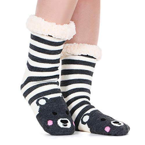 Fleece Lining Fuzzy Soft Christmas Knee Highs Stockings Slipper Socks (Striped Bear)
