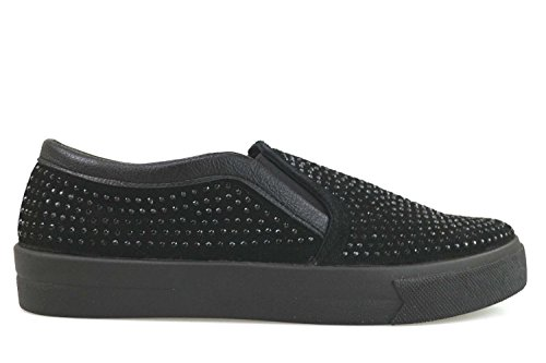 scarpe donna MADAME PIGALLE sneakers nero camoscio strass AM785