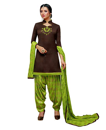 (Ladyline Ready to Wear Kora Silk Handwork Salwar Kameez Suit with Patiala Salwar with Jacquard Dupatta (Size_46/ Brown))