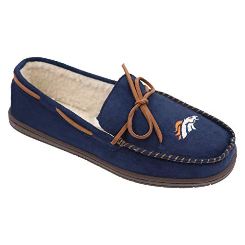 (FOCO Football Mens Team Color Big Logo Moccasin Slippers Shoe - Pick Team (Medium 9-10, Denver Broncos))