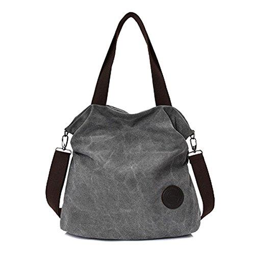 Ladies Casual Handbag Simple Art Uniform Shoulder Messenger Bag Large Capacity Multi Compartment Canvas Bag Grey