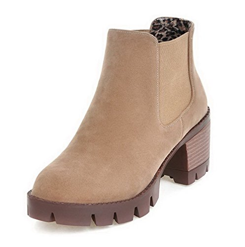 Allhqfashion Women's Round Closed Toe Ankle-high Kitten-Heels Solid Imitated Suede Boots Apricot gInT65na7