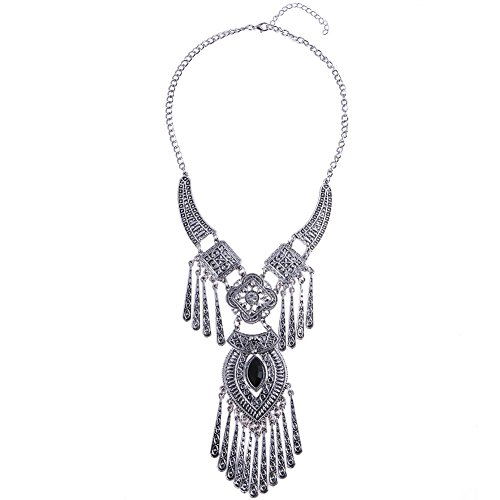 Women Bohemian Style Fashion Tassel Crystal Gemstone Necklaces Jewelry