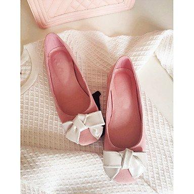 Cómodo y elegante soporte de zapatos de las mujeres pisos comodidad de piel de cerdo de primavera verano otoño Casual soporte de talón con lazo rosa otros rosa