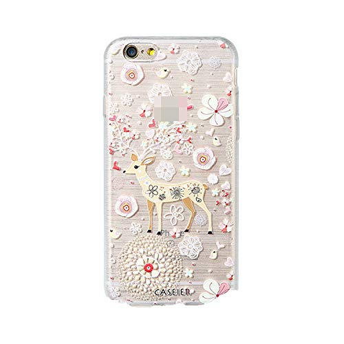 Christmas Style Case for iPhone 6 6s 7 8 Plus Silicone 3D Cases for iPhone X 10 5 5s SE Cover Soft Conque Shell,Elk,for iPhone 6 6s ()