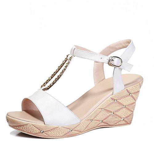 Adee Mujer Open-toe sandalias de piel con hebilla blanco