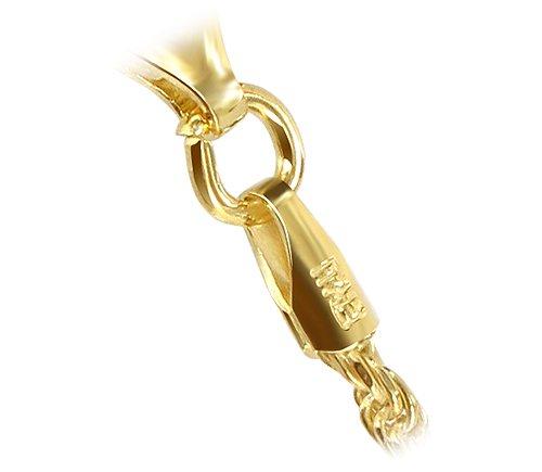 14k Gold over Sterling Silver Vermeil 1.5mm Rope Chain Anklet Gem Avenue BDAGP002-10