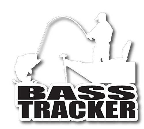 (BOLDERGRAPHX 6166 BASS TRACKER FISHING DECAL WITH SILHOUETTE OF A LARGE MOUTH BASS AND A BOAT 5