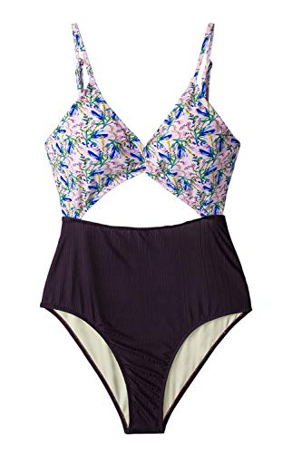 CUPSHE Women's Purple Floral Cutout One Piece Swimsuit Small