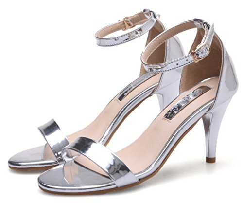 Stiletto Heel High Silver Open Prom Ankle Buckle Strap Peep Toe Shoes Sandals Women's Party DADAWEN 5qtEnw6WU5