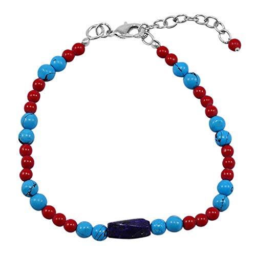 Silvestoo Jaipur Jewelry Girl's 925 Silver Plated Lapis Lazuli, Turquoise & Jasper Bracelet PG-130535