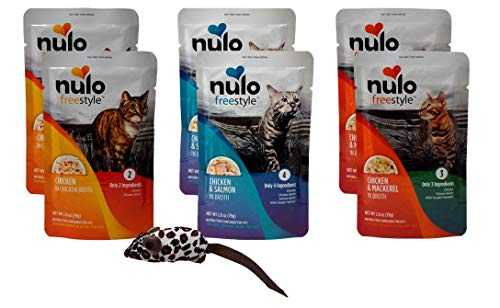 (Nulo Freestyle Gourmet Grain Free Natural Cat Food Complement 3 Flavor 6 Pouch with Catnip Mouse Sampler Bundle, 2 Each: Chicken, Chicken Salmon, Chicken Mackerel (2.8 Ounces))