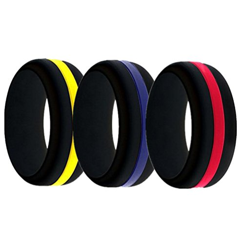 LIANTSH Black Silicone Ring for Men Changeable Wedding Bands Variety Sizes Middle Line and Plain - Red Line/Blue Line/Yellow Line (9.5-10(19.8mm))
