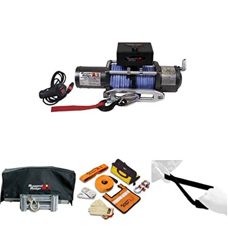 Rugged Ridge 15100.02 8,500 lbs Winch with 23//64 X 100 Synthetic Rope and Hawse Fairlead