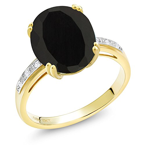 4.04 Ct Oval Black Onyx White Diamond 10K Yellow Gold Ring