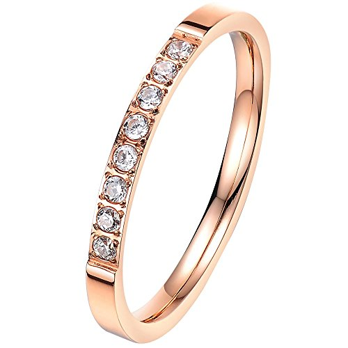 BOHG Jewelry Womens 2MM Rose Gold Plated White Cubic Zirconia CZ Couples Eternity Ring Engagement Wedding