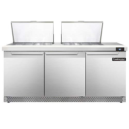 Continental Refrigerator DL72-24M-FB Designer Line Mighty Top Sandwich Unit, 72