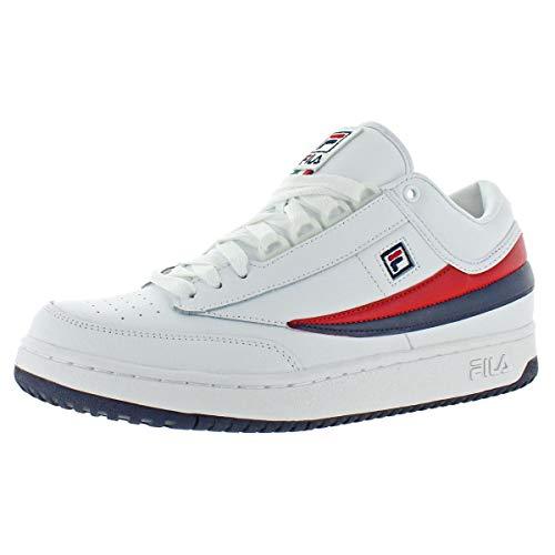 (Fila Men's T-1 MID Fashion Sneaker, White Navy Red, 10 M US)