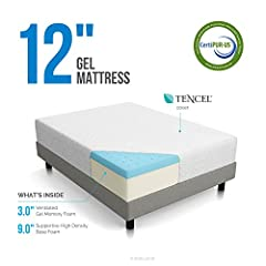 The LUCID 12 Inch Memory Foam Mattress has a medium feel that combines a soft comfort layer and the support of high-density base foam. The 3 inch ventilated gel memory foam top layer is softer and lighter than other memory foams. LUCID foam a...