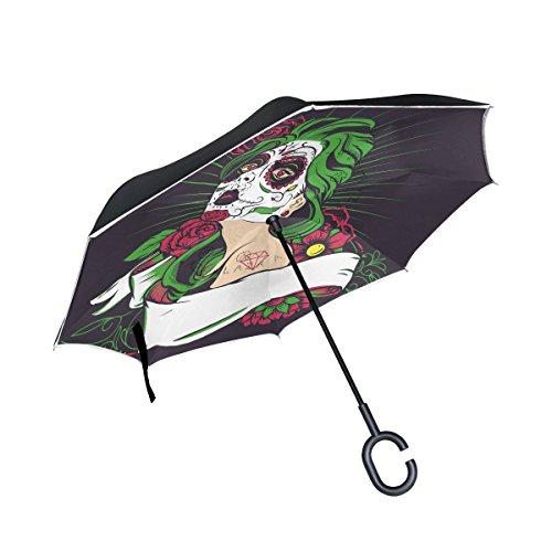 ALAZA doble capa invertida Azúcar Cráneo niña con flor paraguas coches Reverse resistente al viento lluvia paraguas para...
