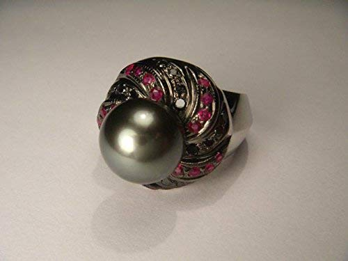 Magnificent Estate 14K White Gold Tahitian Black Pearl Diamond Ruby Ring Band (Diamond Gold Tahitian Pearl White)