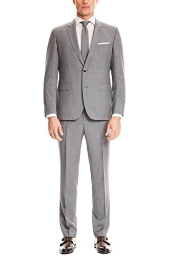 Hugo Boss Medium Gray Check Extra Slim Fit Men's Suit 100% Virgin Wool 2 Piece C Jays/C Shaft 50321304 033 (46 Long USA Jacket/40 Waist Pants) (Suit Extra Wool Long)