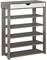 HOMCOM Shoe Rack with Drawers Free Standing Storage Shelf Wooden Organizer for Entryway Living Room Grey