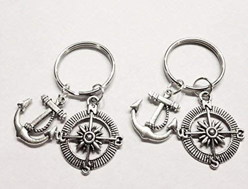 Best Friend 2 Keychains Anchor Of Hope Compass Nautical BFF Sisters His And Hers Couple's Set