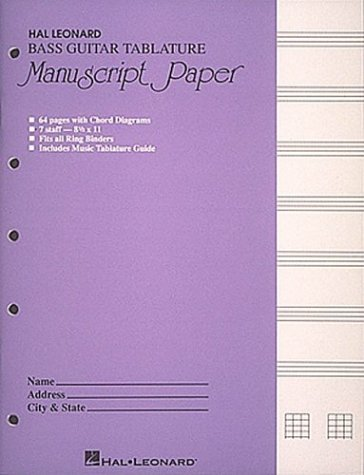 Bass Guitar Tablature Manuscript Paper (Purple Cover) Bass Tab Paper