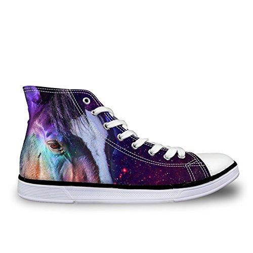 Bigcardesigns Galaxy Animale Casual Alta Cima Tela Sneakers Cavallo
