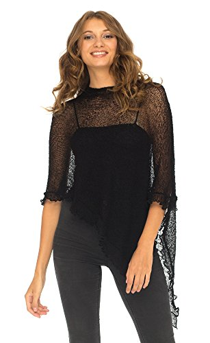 - SHU-SHI Womens Sheer Poncho Shrug Lightweight Knit with Ruffle One Size Fits Most Black