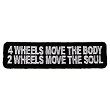 4 Wheels Move the Body 2 Wheels Soul Biker Iron on Embroidered Patch D43 by Sujak Military Items
