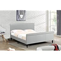 Home Life Premiere Classics Cloth Light Beige Cream Linen 45 Tall Headboard Sleigh Platform Bed with Slats King - Complete Bed 5 Year Warranty Included 017