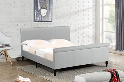 Home Life Premiere Classics Cloth Light Beige Cream Linen 45' Tall Headboard Sleigh Platform Bed with Slats King - Complete Bed 5 Year Warranty Included 017