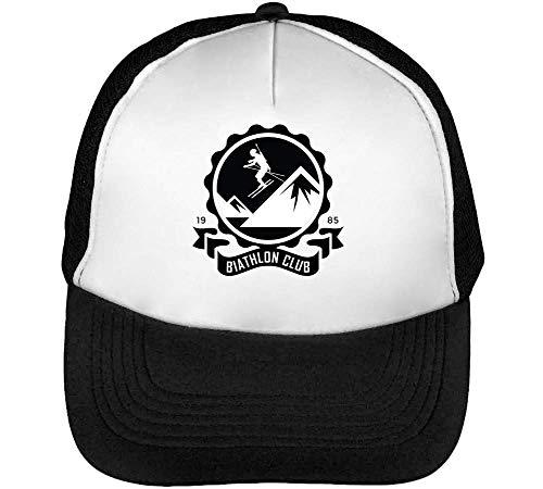 Sport Badge Biathlon Club Gorras Hombre Snapback Beisbol Negro Blanco