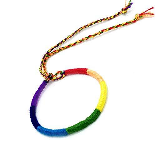 LAVIP Leather Handmade Gay Pride cord Hemp Hawaiien Style Rainbow Hippie Macrame Bracelet