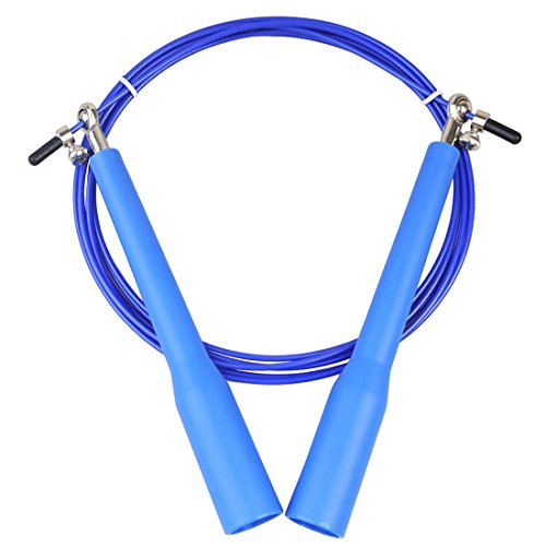 Jump Rope,Speed Adjustable 9ft PVC Coated Steel Cable with Steel Ball Bearing Double Unders Skip Rope Best for Boxing,MMA,WOD,Fitness Cardio Training,Skipping Workout Exercise for Men Women (Blue)
